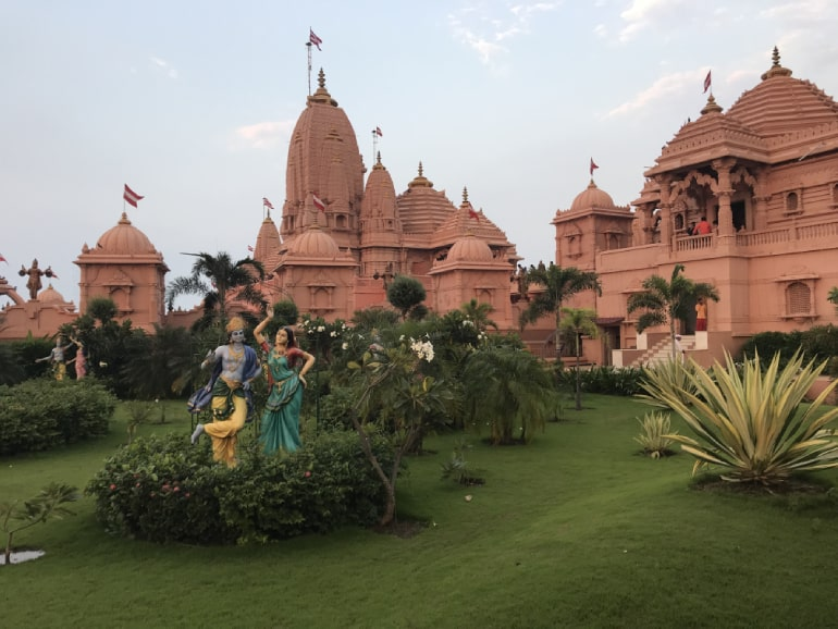 Outside the Swaminarayan Temple that also is a theme park